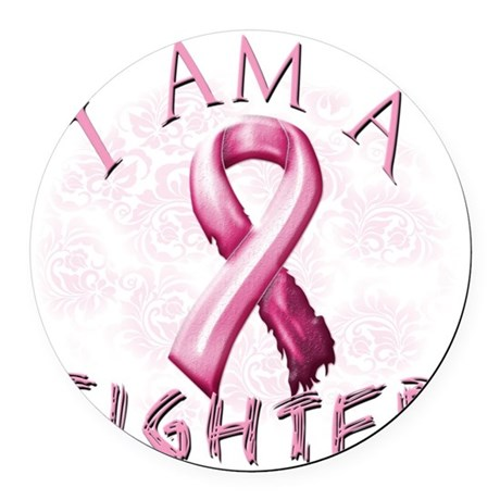I Am A Fighter (Pink) Round Car Magnet