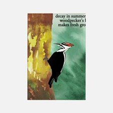 Woodpecker Haiku Rectangle Magnet