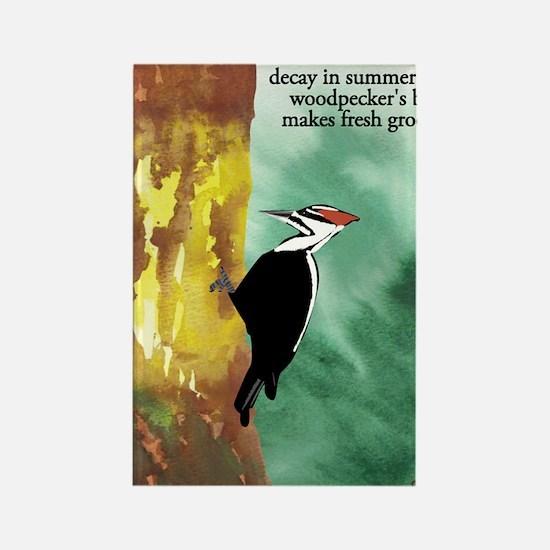 Woodpecker Haiku Rectangle Magnet