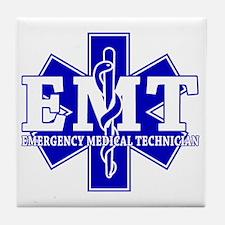 star of life - blue EMT word Tile Coaster