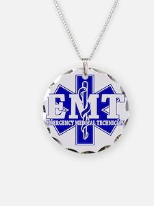 star of life - blue EMT word Necklace