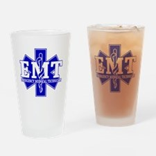 star of life - blue EMT word Drinking Glass