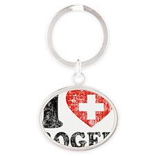 Love Roger Grunge Oval Keychain