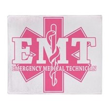 star of life - pink EMT word Throw Blanket