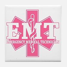 star of life - pink EMT word Tile Coaster