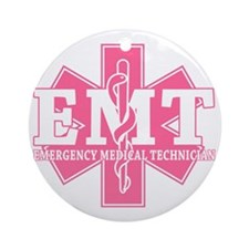 star of life - pink EMT word Round Ornament