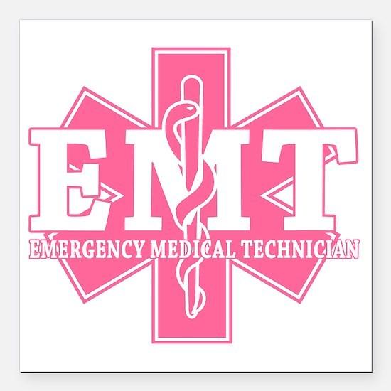 """star of life - pink EMT  Square Car Magnet 3"""" x 3"""""""