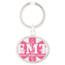 star of life - pink EMT word Oval Keychain