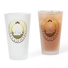 valknut rune shield Drinking Glass