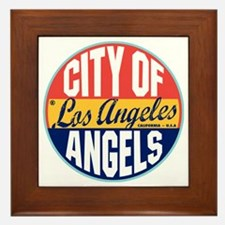 Los Angeles Vintage Label W Framed Tile