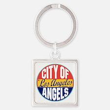Los Angeles Vintage Label W Square Keychain