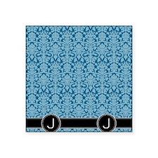 "J_flip_flops_monogram_05 Square Sticker 3"" x 3"""