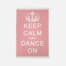 Keep Calm and Dance On Pink Backg Rectangle Magnet