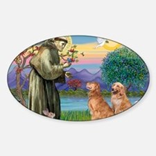 StFrancis-2Goldens Sticker (Oval)
