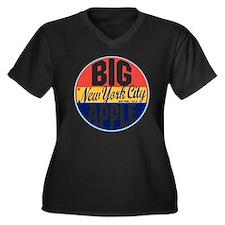 New York Vin Women's Plus Size Dark V-Neck T-Shirt