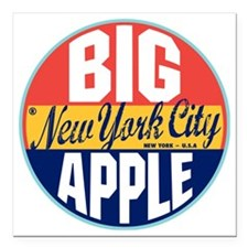 "New York Vintage Label W Square Car Magnet 3"" x 3"""