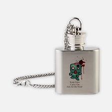 keep_calm_headshot_blk_txt Flask Necklace