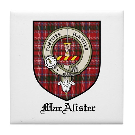 MacAlister Clan Crest Tartan Tile Coaster