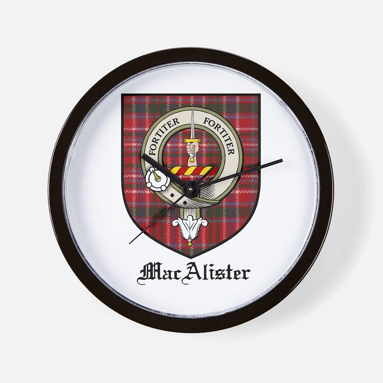 MacAlister Clan Crest Tartan Wall Clock