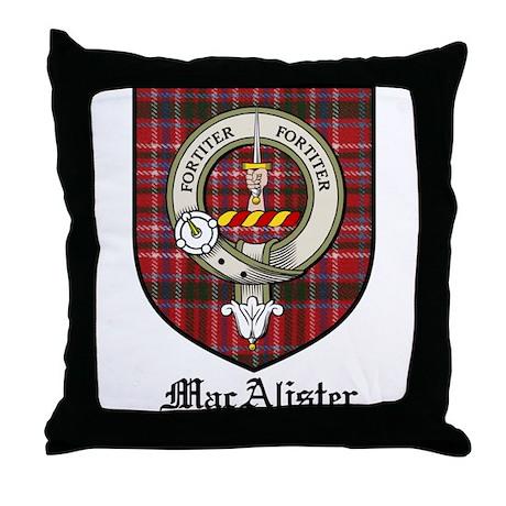 MacAlister Clan Crest Tartan Throw Pillow