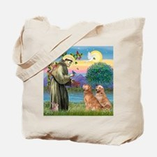 TILE-StFrancis-2Goldens Tote Bag
