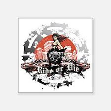 "Ride or Die Silver Square Sticker 3"" x 3"""