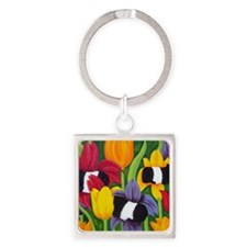 tulips300 2 Square Keychain