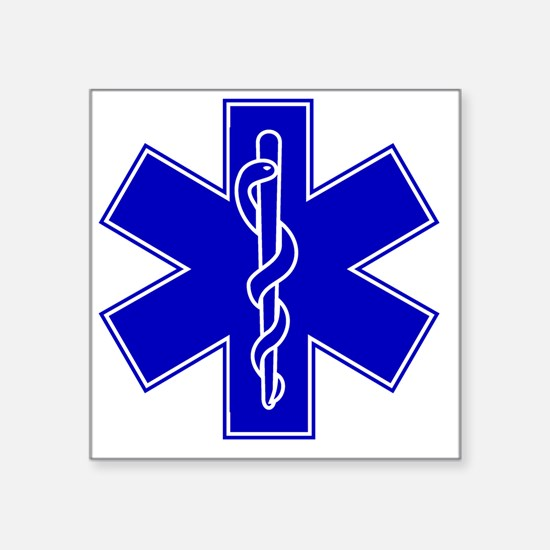 "star-of-life-blue Square Sticker 3"" x 3"""