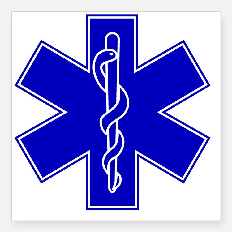 "star-of-life-blue Square Car Magnet 3"" x 3"""