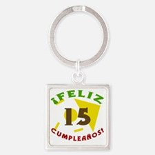 SpanishBirthday15 Square Keychain