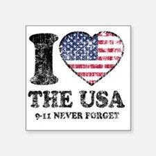 "I Love USA Square Sticker 3"" x 3"""