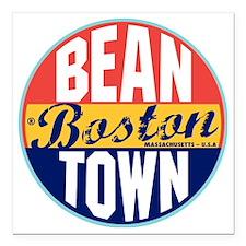 "Boston Vintage Label W Square Car Magnet 3"" x 3"""