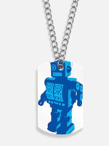 Robot Blue Dog Tags