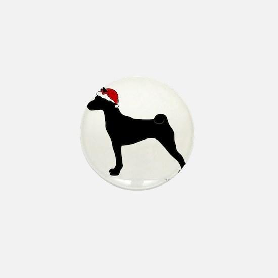 Basenji Santa Mini Button