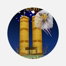 Gold Twin Towers, Eagle n Flag_pill Round Ornament