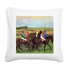 degas at the race track Square Canvas Pillow