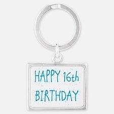 happy 16th birthday b Landscape Keychain