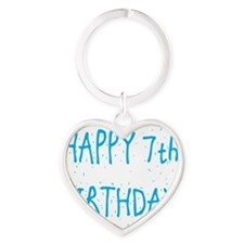 happy 7th birthday b Heart Keychain