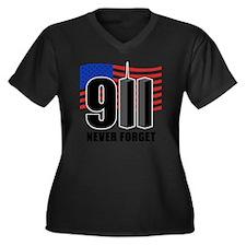 911 Women's Plus Size Dark V-Neck T-Shirt