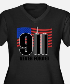 911 Women's Plus Size Dark V-Neck T-Shirt