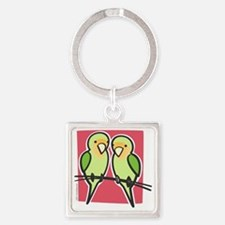lovebirds Square Keychain