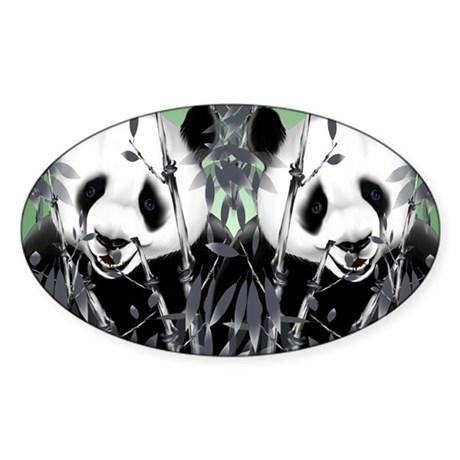 panda_flip_flops Sticker (Oval)