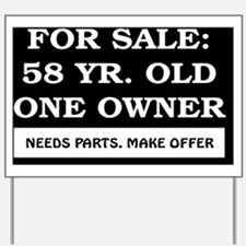 For Sale 58 year old Birthday Yard Sign