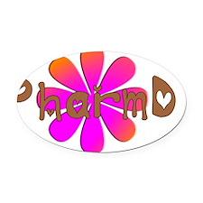 PharmD Pink flower Oval Car Magnet