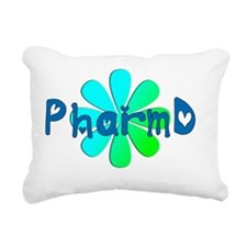 PharmD BLUE FLOWER Rectangular Canvas Pillow