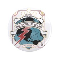 """The World is yours-whites 3.5"""" Button"""