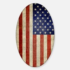 Vintage USA Flag Sticker (Oval)