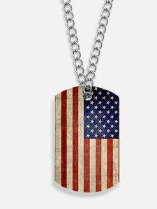 Vintage USA Flag Dog Tags