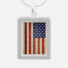 Vintage USA Flag Silver Portrait Necklace