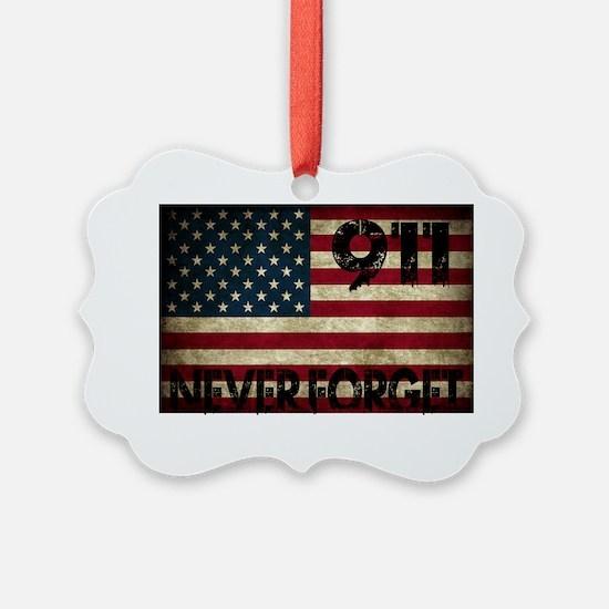 911 Grunge Flag Ornament